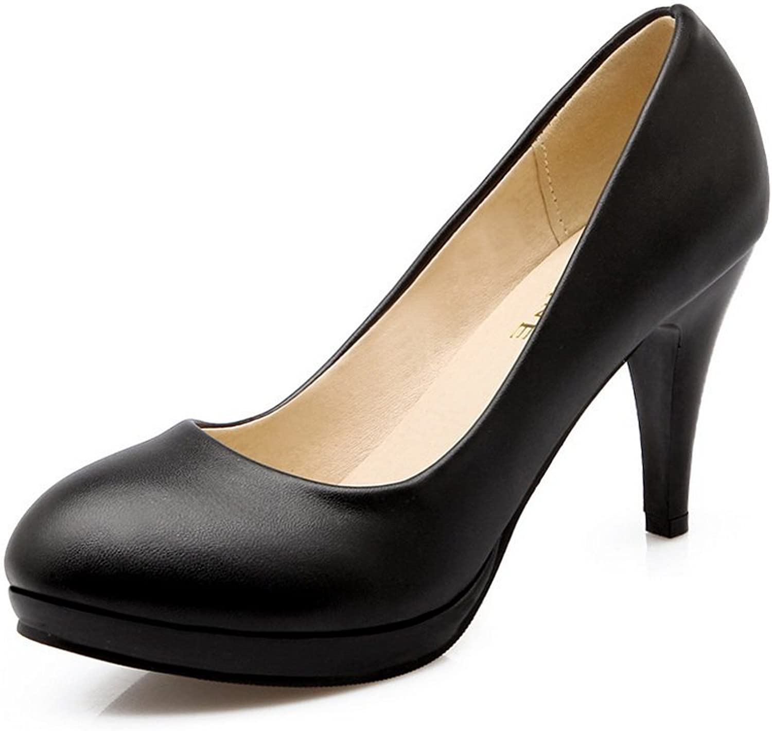 A&N Ladies Spikes Stilettos Low-Cut Uppers No-Closure Urethane Pumps-shoes