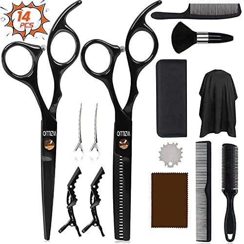 Haarschere Set, Profi Licht Effilierschere und Scharfe Friseurscheren aus Edelstahl zum Ausdünnen und Strukturieren Home Haarschneide Kit mit Haarschnittumhang