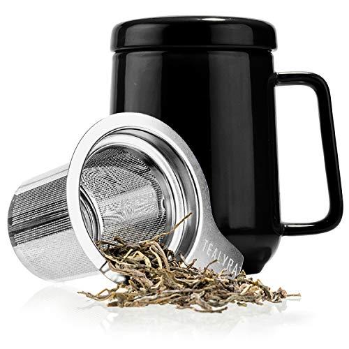 Tealyra - Peak Ceramic Black Tea Cup Infuser - 19-ounce - Large Tea High-Fired Ceramic Mug with Lid...