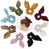 Atpot 8 Pack Hair Elastics Bow Scrunchies,Bunny Ear Chiffon Satin Silk Elastic...