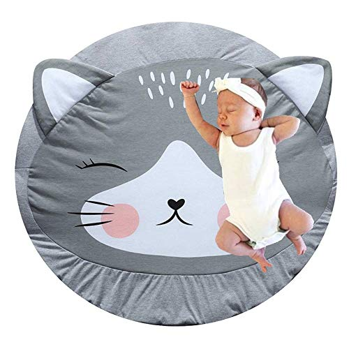 Abreeze Cartoon Cat Baby Round Play Pad Crawling Mat Crawl Cushion Air-Conditioned Rug for Kids Children Toddlers Bedroom