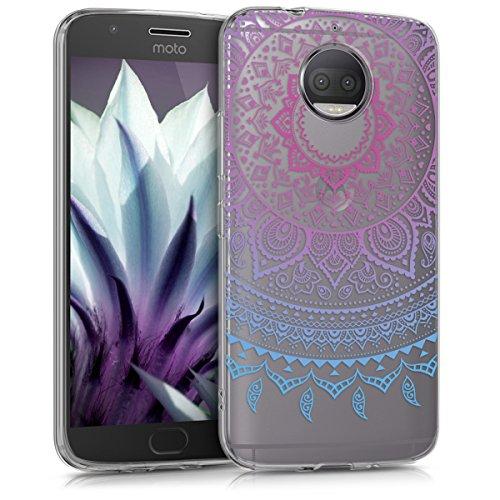 kwmobile Cover Compatibile con Motorola Moto G5S Plus - Custodia in Silicone TPU - Backcover Protettiva Cellulare Sole Indiano Blu/Fucsia/Trasparente
