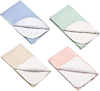 Platinum Care Pads™ Washable Large Standard Reusable Bed Pads/Hospital Underpads, for use with Incontinence and Pets Size 34x36 in, Pack of 4 (1 Blue 1 Green 1 Beige 1 Pink)