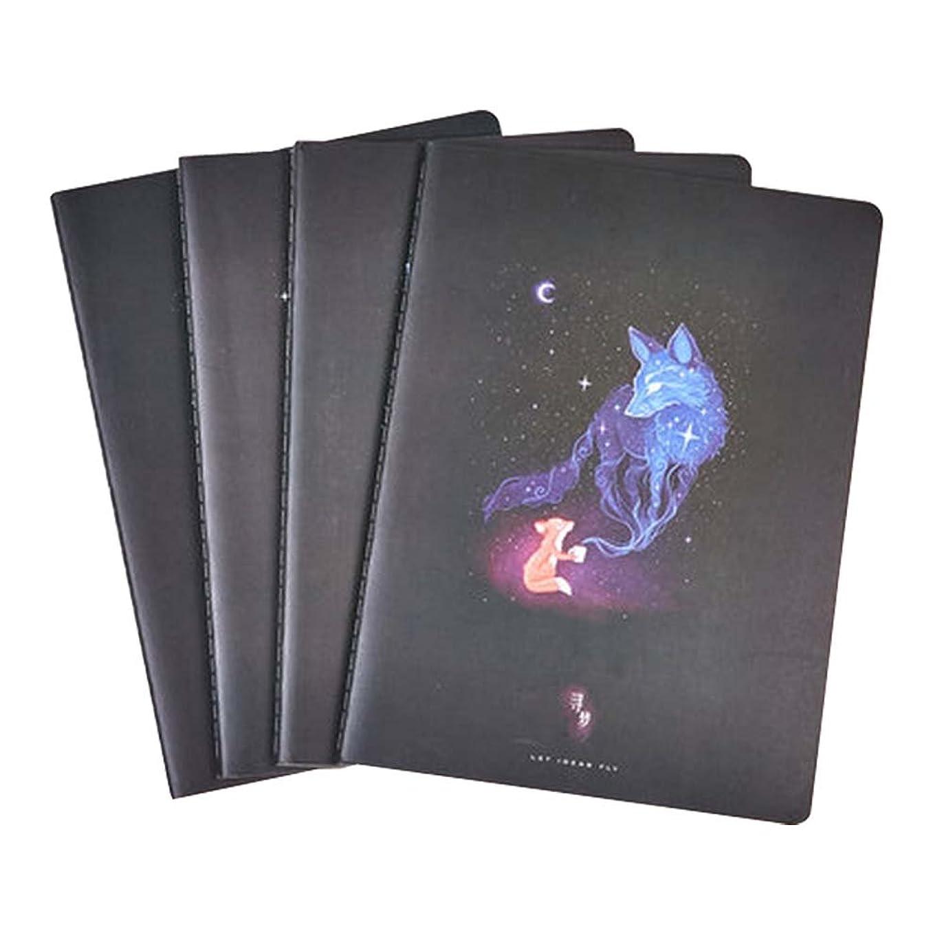 4個の学生ラボノートブックダイアリーノートブッククラシックノートブックジャーナルソフトカバーノートブック