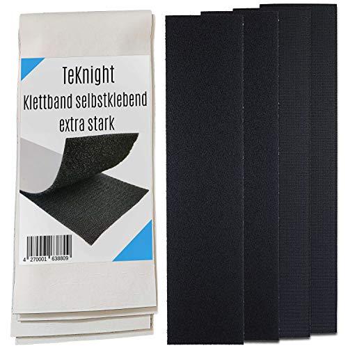 Klettband breit 10x50cm selbstklebend extra stark doppelseitig Klettband breit kleben Teppich Fliegengitter Halterung Tür Glas Metall Spiegel universal Nähen 2xSchwarz:100x500mm
