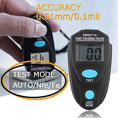 TANGIST High Accuracy EM2271 Mini Thickness Gauge Electronic Width Measuring Instruments Car Paint Thickness Meter Paint Coating Thickness Tester Tool (Color : Black)