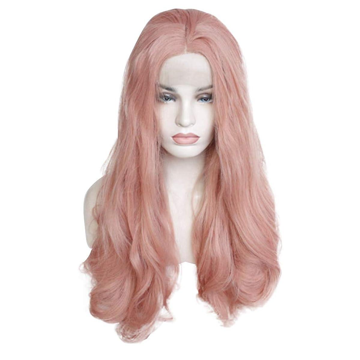 机ピラミッドレース女性のためのピンクのかつら、女性のためのファッションロングカーリーウィッグスモールウェーブウィッグとして自然な日常のコスプレ衣装のかつらかつら