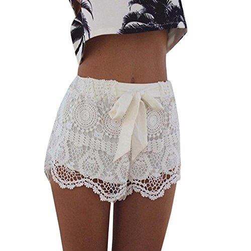 Resplend Frauen Hotpants Sommer-Beiläufige Kurzschlüsse Spitze Bowknot Shorts Sport Yoga Lässige Kurze Hose Hoher Taille Boardshorts Freizeit Strandshorts (Weiß, S)