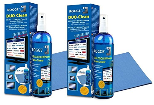 ROGGE Duo-Clean Original DoppelSet, 2X 250ml LCD - TFT - LED - TV - Touch Displays + Plasma Screen Cleaner + 2X ROGGE Prof. Microfasertücher 38x40cm. The Original Since 1998. Made in Germany
