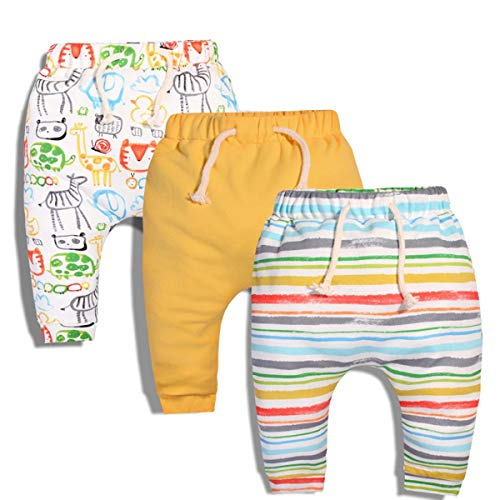 CuteOn 3 Paquete Unisexo Niños Niñito Harén Pantalones Algodón Elástico Pantalones (6...