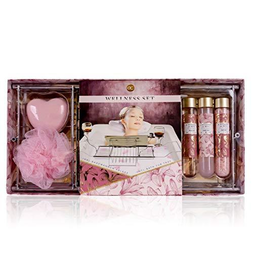Accentra Set de regalo A moment for you – Juego de spa con diferentes productos de cuidado y bandeja para bañera – el regalo especial para todas las mujeres, mujeres, madres
