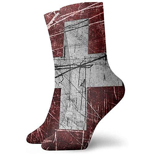 Not Applicable Anzug-Socken,Business Socken,Sport/Sneaker Socken,High Performance Tennissocken,Schweizer Schweiz Grunge Flag Feuchtigkeitskontrolle Laufsocken Langlebige Atmungsaktive Trainingssocken