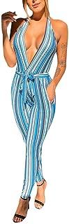 ZHRUI Culotte Striped Jumpsuits für Frauen Damen, Sommer Maxi Sexy V-Ausschnitt Jersey Bandeau Baggy Tie Schößchen Wrap Loungewear Lässige Urlaub Party-Hosen (Farbe : Blau, Größe : S UK 6-8)