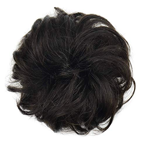100% Human Hair Bun Extension, Messy Bun Hair Piece Curly Hair Scrunchies For Women Girls Updo Donut Hairpiece (27)