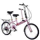 ZCPDP Coche biplaza Entre Padres e Hijos Ligero Mini Bicicleta extraíble Pequeño portátil 20 Pulgadas de Acero al Carbono de Alta Velocidad Bicicleta Plegable de Velocidad Variable