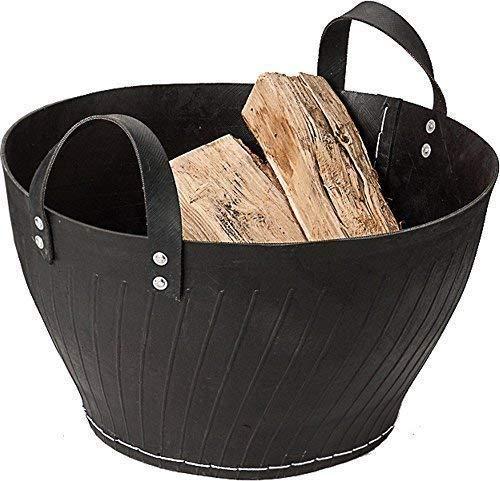 Oude band rubberen mandje, open haard houten mand gemaakt van gerecyclede auto banden, Kohlenkorb