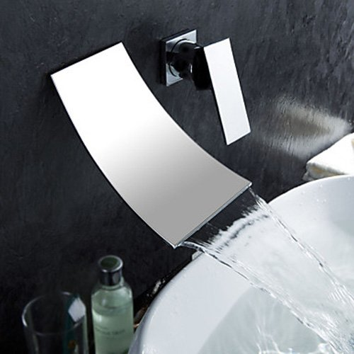 Aquafaucet Waterfall Wall Mount Widespread Bathroom Sink Faucet Bathtub Mixer Tap,Chrome Finished