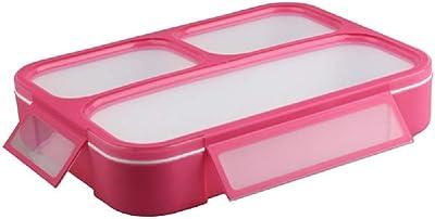 弁当箱 1000ml 大容量 電子レンジ 対応 スプーン付き ランチボックス 三つ薄型 軽量 汁漏れしにくい 3仕切り割設計 ピンク