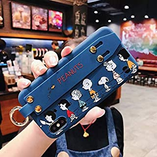 1 PC Cartoon line up Pink Snoopys + wris tmetal Buckle Bracket Soft Cover case for iPhone 6 7 8 Plus X XR XS MAX Phone Cases (Blue, iPhone 7 8 Plus)