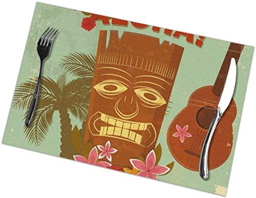 Juego de 4 manteles Individuales con Estampado Vintage de Hawaii, Color marrón, para Mesa de Comedor, fáciles de Limpiar, Resistentes al Calor (18