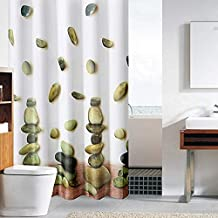 Cortina de la ducha Poliéster Baño Impermeable Moho Sombreado Opaco Patrón de Piedra Partición Sanitaria Cortina de Tiro,80x180cm