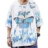 Aelfric Eden Men's Short Sleeve Harajuku Shirts Hip-Hop Tee Tops Hipster Butterfly T-Shirts Summer Oversize Shirt White