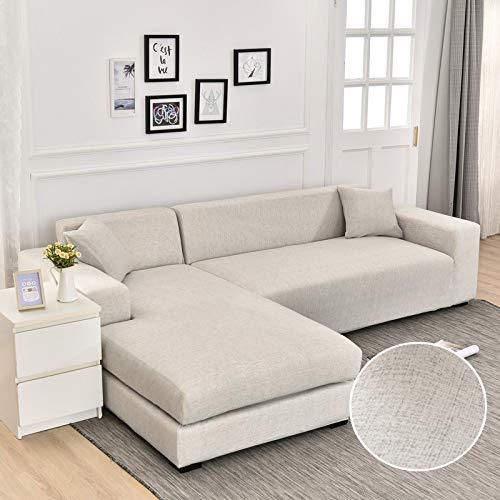 Fundas de sofá de Chaise Longue Impresas en Forma de L para Sala de Estar Protector de sofá Fundas elásticas Antipolvo para sofá de Esquina A23 de 3 plazas