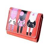 Monicanine - Portafoglio corto da donna con motivo gatto, motivo: gatto, Rosso anguria (Rosso) - UI1B093658U655G5629