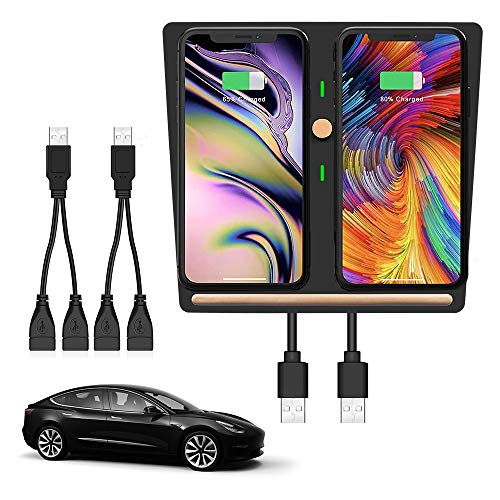 TesLover Germany Made Charging Coil Tesla Model 3 Wireless Phone Charger Dual Smartphone Charging Pad Cell Phone Wireless Charging Model 3 Accessories 2021 Upgarde for Tesla Model 3 No Software Issue