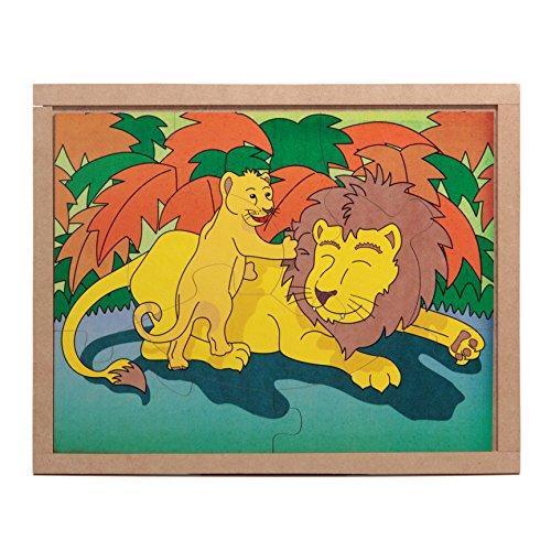Carlu Brinquedos - Animais e Filhotes Leão Quebra-Cabeça da 8 Peças, Multicor, 3106