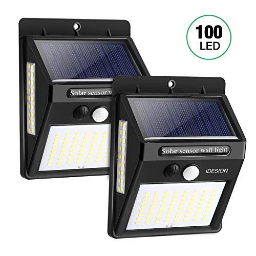 IDESION Luce Solare Esterno, 3 Modalità -2200mAh 100 LED Impermeabile IP65 Lampada Solare con Sensore di Movimento Impermeabile Luci Solari da Parete Wireless Solare Led per Giardino,Patio [2 pezzi]