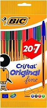 BIC 880331 Cristal Original Stylos-Bille Pointe Fine, Pochette de 20+7, 0,8 mm, Couleurs Assorties