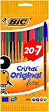 BIC Cristal Original Fine - Bolígrafos punta fina (0.8 mm), Blíster de 20+7 unidades, Colores Surtidos
