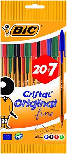 BIC Cristal Original Stylos-Bille Pointe Fine (0,8 mm) - Couleurs Assorties - Corps Orange - Pochette Format Spécial de 27