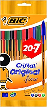 BIC Cristal Original Stylos-Bille Pointe Fine (0,8 mm) - Couleurs Assorties, Pochette de 20+7