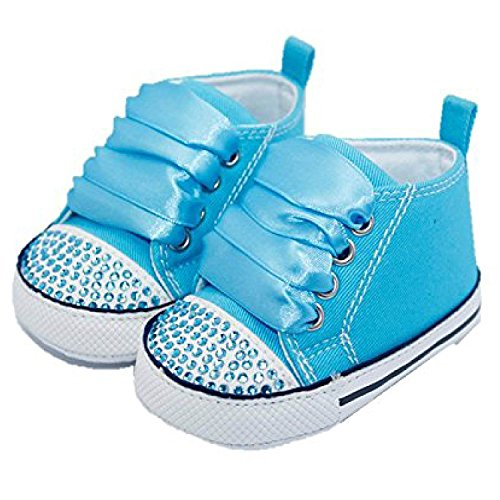CONVERSE STYLE BABY PRAM SHOES WITH CRYSTALS AND RIBBONS Blue 6-12 months