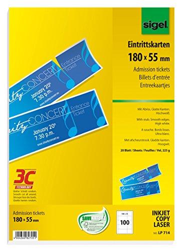 SIGEL LP714 Eintrittskarten zum Selberdrucken, 180x55 mm, 100 Stück (20 Blatt), mit Abriss