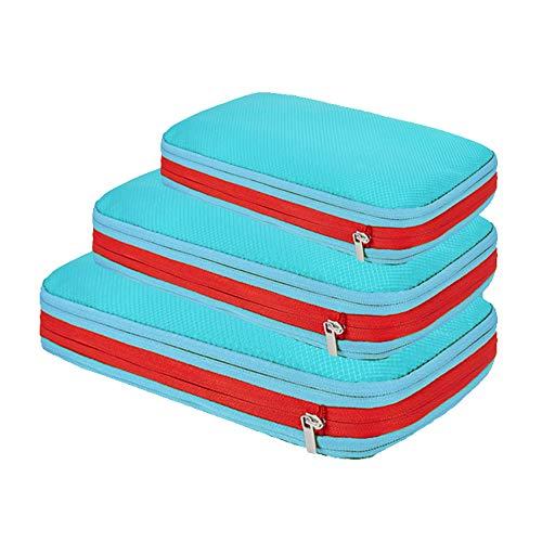 Packwürfel Set mit Kompression Packing Cubes Packtaschen Set&Gepäck Organizer für Rucksack&Koffer Extra leichte Kleidertaschen Himmelblau Einheitsgröße