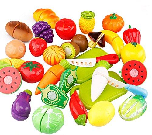 JUNGEN Jeu D'imitation Coupe Fruits Légumes Jeu enfants Kid Jouet éducatif a Decouper de Cuisine Pizza a Decouper pour les Enfant Bébés a la Maternelle école 29pc