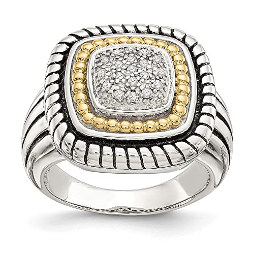 Plata de Ley y 14K oro amarillo y diamantes anillo de compromiso (0.095ct, H-SI2)