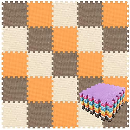 qqpp Alfombra Puzzle para Niños Bebe Infantil - Suelo de Goma EVA Suave. 18 Piezas (30 * 30 * 1cm), Naranja,Marrón,Beige. QQC-BFJb18N