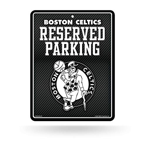 Rico Industries, Inc. Boston Celtics Metal Parking Sign 8x11 Metal Sign Carbon Fiber Design Embossed Wall Parking Team Logo Novelty Basketball