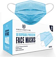 Harley Street Care Disposable Blue Face Masks Protective 3 Ply Breathable Triple Layer Mouth Cover with Elastic Earloops...