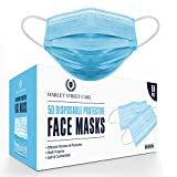 Harley Street Care Disposable Blue Face Masks Protective 3 Ply Breathable Triple Layer Mouth Cover with Elastic Earloops - Box of 50