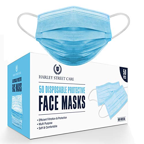 Harley Street Care Disposable Blue Face Masks Protective 3 Ply Breathable...
