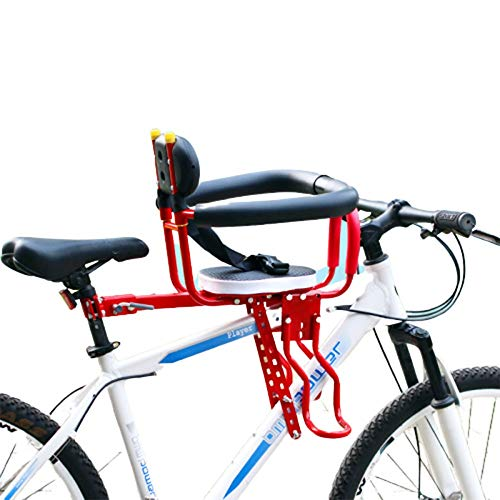 Seggiolino Bicicletta Anteriore per Bici Sella per Bambini Sella con Pedali Supporto Schienale per MTB Road Bike 8 Mesi - Bambini di 6 Anni Max 50 kg