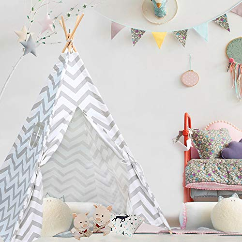 Triclicks Kids Teepee Play Tent Indian Children Wigwam Tipi Play House - 100% Cotton Canvas Portable Princess Girls Tent for Indoor and Outdoor (Gray Wavy)