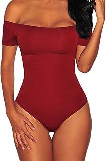 SUBWELL Women Off Shoulder Short Sleeve Bodycon Stretchy Leotard Bodysuit  Jumpsuits f98ac6561