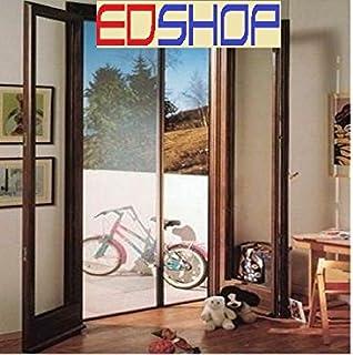 Mosquitera enrollable para puerta, horizontal, tamaño 160 x 250 cm, color marrón y blanco