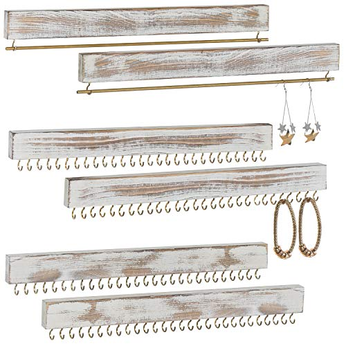 MyGift 6-Piece Set Wall Mounted Rustic Whitewashed Wood Jewelry Racks for Necklaces, Earrings, Bracelets